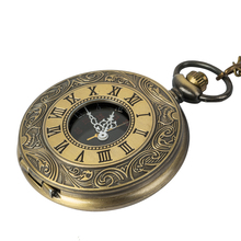 цена на Steampunk Bronze Copper Mechanical Pocket Watch Skeleton Chain Roman Numbers Vintage Pendant Watches with Chain Gifts