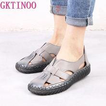 GKTINOO נשים של סנדלי 2020 הקיץ אמיתי עור בעבודת יד גבירותיי נעל עור סנדלי נשים דירות רטרו סגנון אמא נעליים