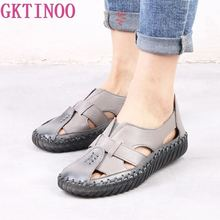 GKTINOO Womens Sandals 2020 Summer Genuine Leather Handmade Ladies Shoe Leather Sandals Women Flats Retro Style Mother Shoes
