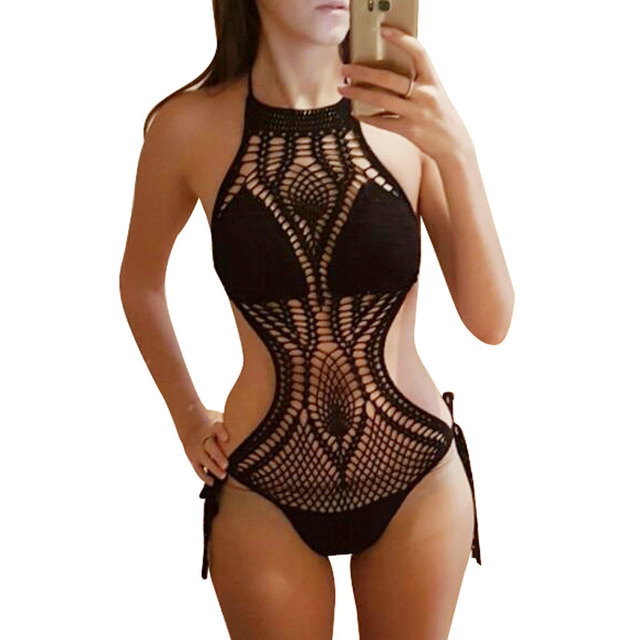 Women Bikini 2019 High Quality Crochet Swimsuit Solid Color Black