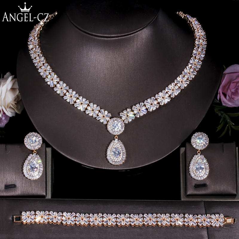 ANGELCZ magnifique Dubai or couleur CZ ensembles de bijoux pour mariage nigérian africain collier goutte d'eau boucles d'oreilles Bracelets ensemble AJ130