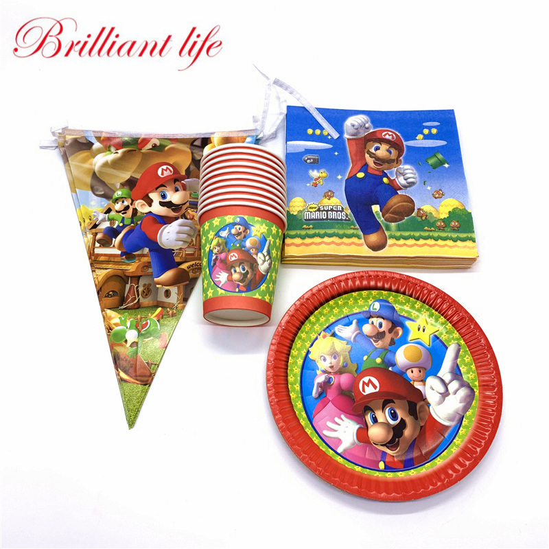 80 teile/los Super Mario Thema Kid Birthday Party Baby Shower Papier Tasse Platte Flagge Serviette Ereignis Festival Familie Party Banner versorgung