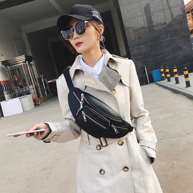 2018 New Fashion Black Solid Leather Waist Bag Pack For Women Fanny Pack Chain Single Shoulder Messenger Belt Bag Phone Purses