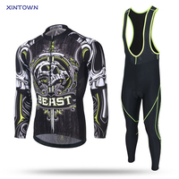 XINTOWN Cycling Jersey Sets Long Sleeve 2017 Green Skull Bike MTB Bicycle Clothes For Men Women