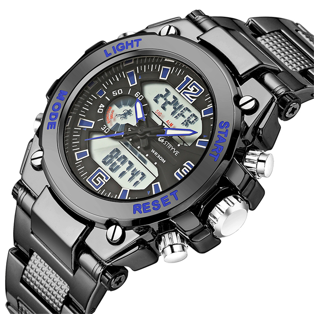 Stryve Brand S8014/S8018 Military Wristwatch 12/24 Hour Chrono Clock Waterproof Digital Quartz Sports Mens Watches montre homme