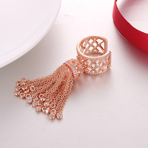 Image 5 - Luxury Royal Tassel Crown Rings For Women With Top Quality Cubic Zircon Adjustable Tassel Ring bague femme AR014