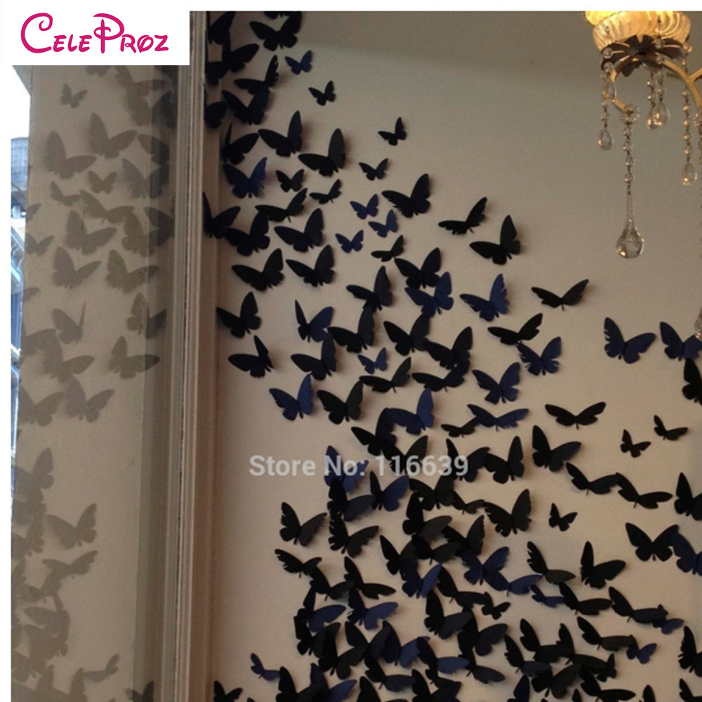 20pcs 3d Paper Butterfly Wall Sticker Decor Butterflies Art Decal Stickers On The Home Wall Diy