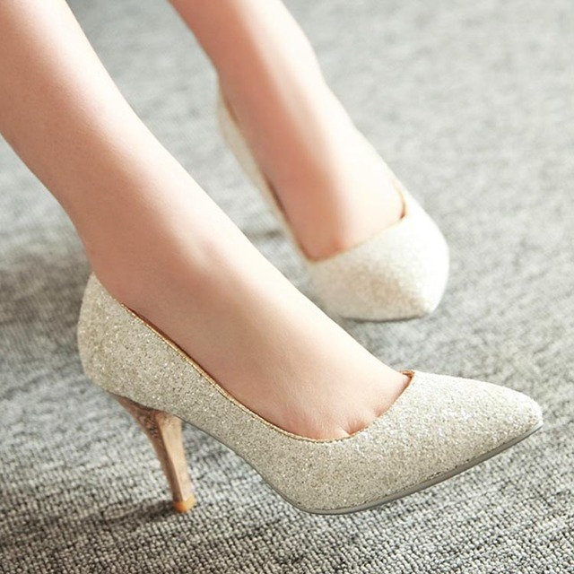 Spring And Autumn Female Paillette White Gold Wedding Shoes Bridesmaid Princess Thin Heels High