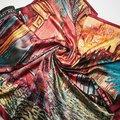 90 cm * 90 cm 2016 Nuevas Mujeres de la Llegada de Vincent van Gogh Pintura Al Óleo casa de café de gran tamaño bufanda mujeres mantones de seda de la muchacha wraps NUEVA