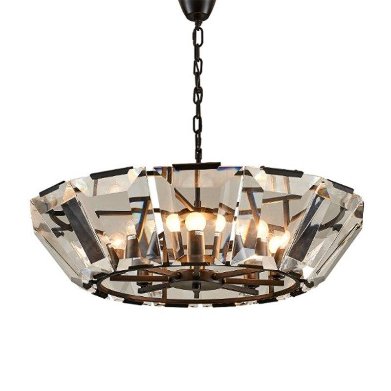 Cristal LED moderne de luxe lustre de haute qualité en verre clair tige abat-jour pour salle à manger suspendus luminaire intérieur