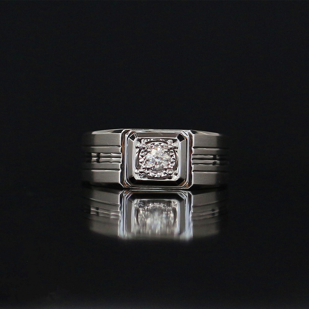 LASAMERO Rings for Men 0.132CT Round Cut Natural Diamond Ring 18k White Gold Engagement Wedding Ring yoursfs 18k white gold plated austria crystal soliraire anniverary rings with princess cut