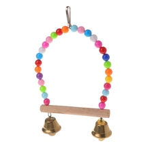 Perch Swing-Cage Beads-Bells Birds Hanging Parrots Wooden Natural with Colorful
