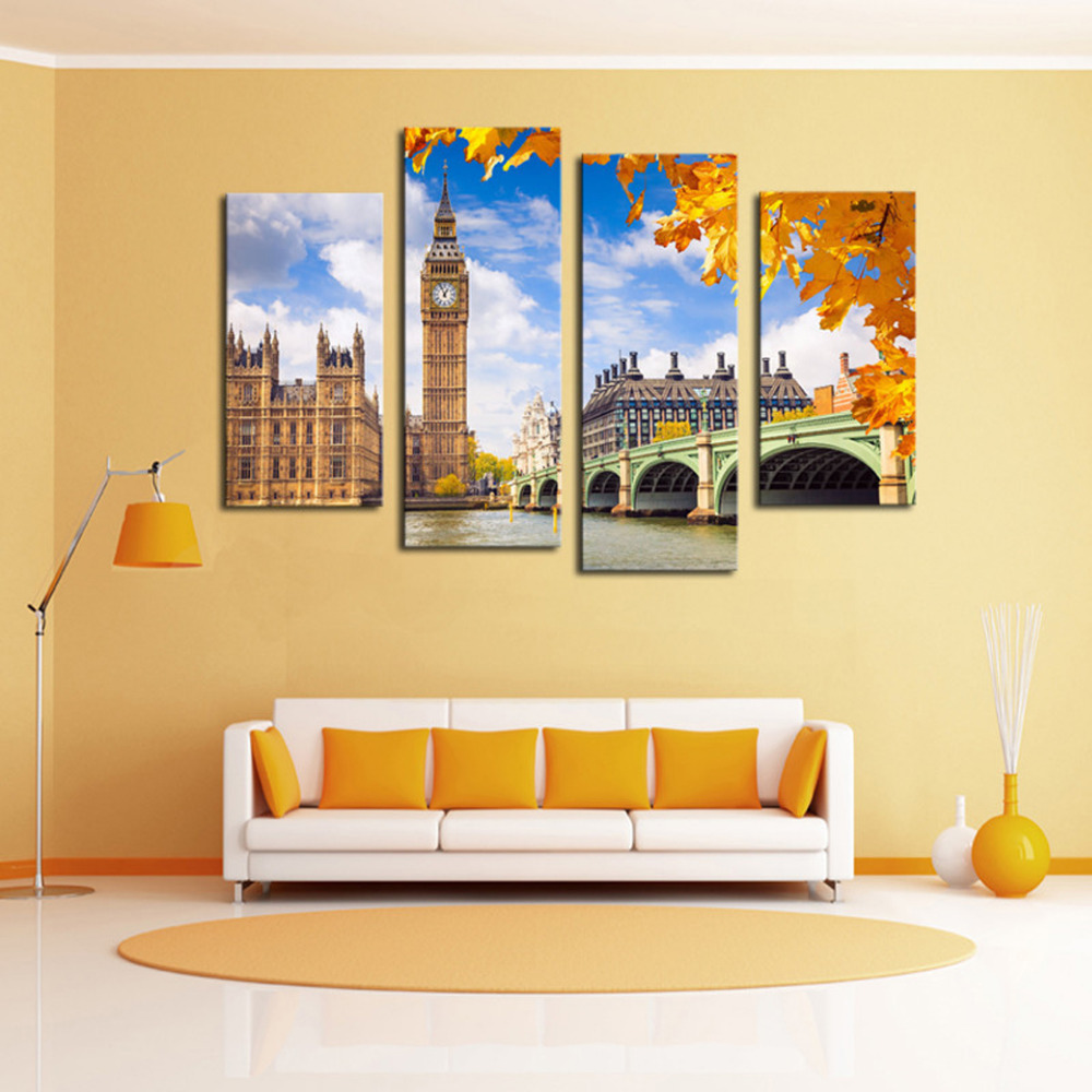 4 Panels Canvas London Big Ben Painting On Canvas Wall Art Picture ...