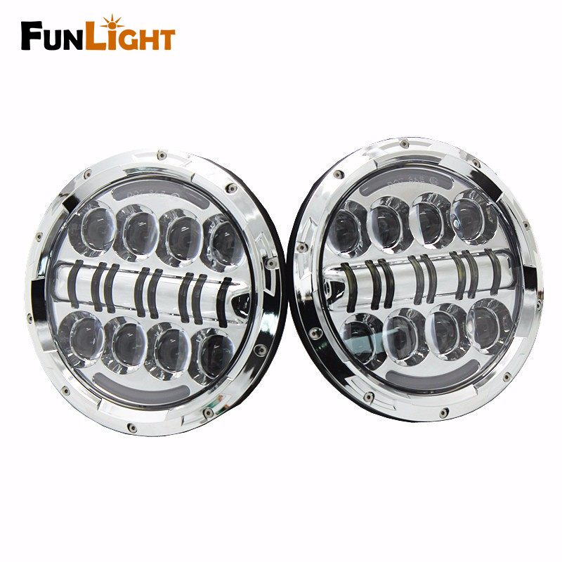 Funlight 80W 7 Inch Round Led Headlight With DRL+Yellow turn signal for Wrangler Jk Tj Fj Cruiser Trucks Off Road Light