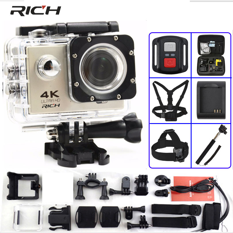 RICH Action camera F60 / F60R Ultra HD 4K / 30fps WiFi 2.0 170D go Helmet Cam pro underwater waterproof Sport camera action camera h3r h3 ultra hd 4k 170d lens go dual screen camera pro waterproof 30m remote control sport camera