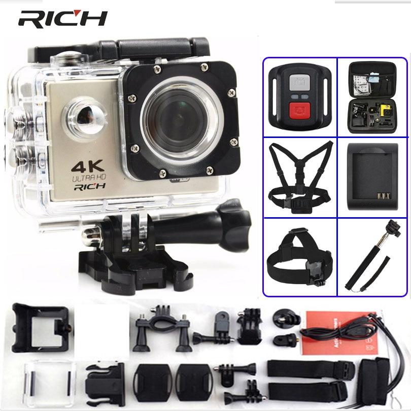 Rica câmera de ação f60/f60r ultra hd 4 k/30fps wifi 2.0