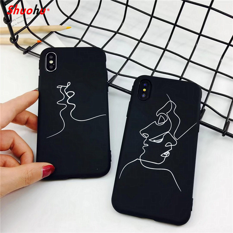 M'E'IBAI Fashion Phone Cases for iPhone 7 8 X Case Black Luxury Art Slim Cute Hard PC Back Cover for iPhone 5 5s SE 6S Case