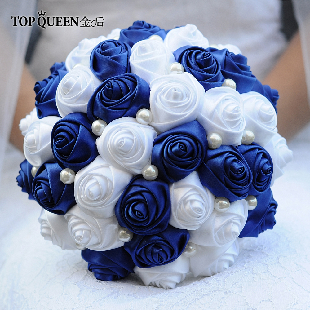 TOPQUEEN F4-RBL Wedding Bouquet Bridesmaid Bouquets Artificial Bridesmaids Bouquets Silk Roses Bouquet Bouquet Handle Flowers