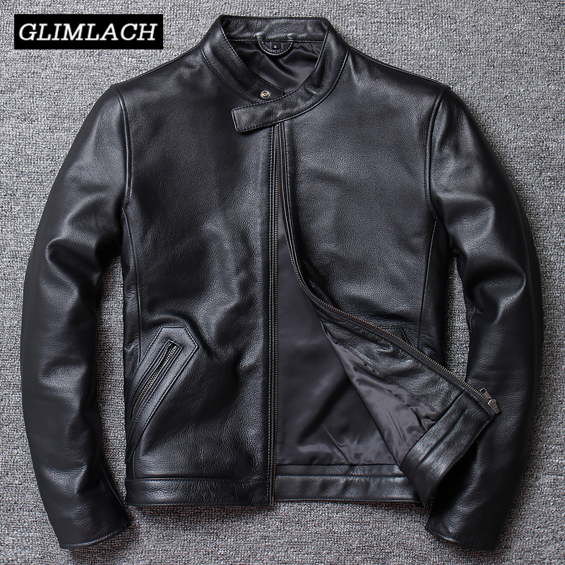 Casual Leather Jacket Men Slim Stand Collar Genuine 100% Cowhide Real Leather Large Size 5XL Motorcycle Jacket Biker Coat Male