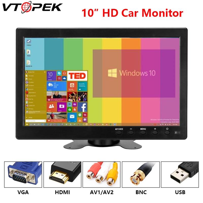 Vtopek 10 car monitor car display 1280 720 Computer monitor HDMI VGA 12 24 V 18IR