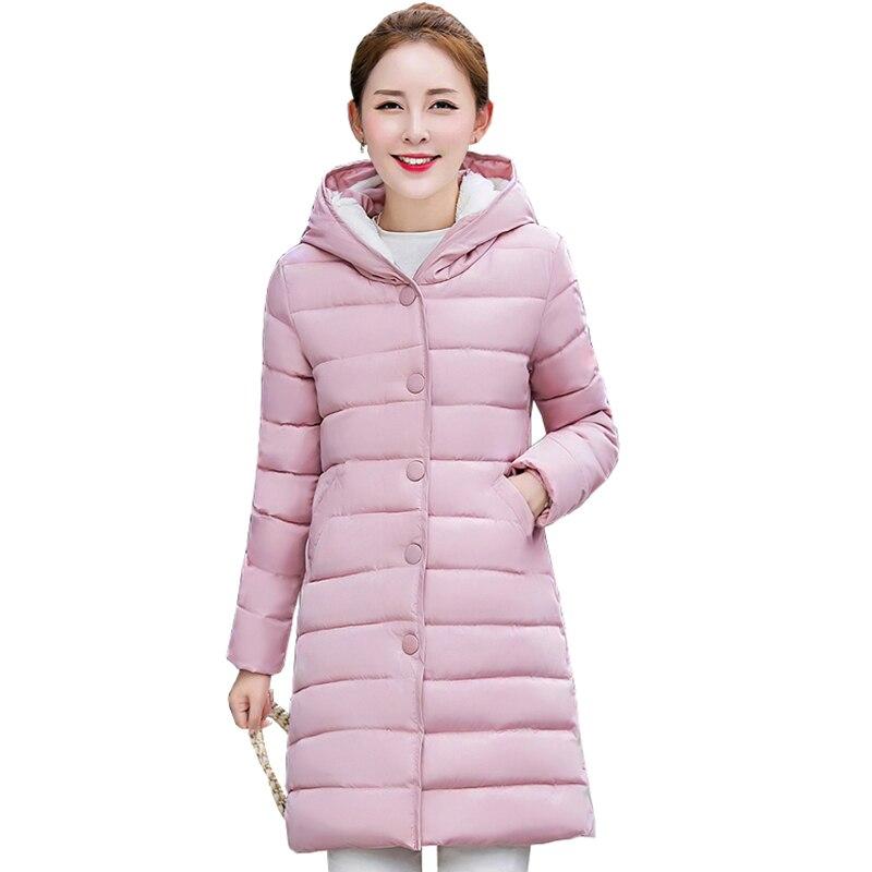 women winter coat long Down Cotton Padded jacket  plus size 3XL femela thick warm hooded zipper slim coat parka outerwear QH0688