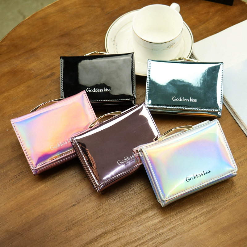 Coin Purse Short Wallet Ladies Laser Small Women Card-Card-Holder Hot Folding Colorful