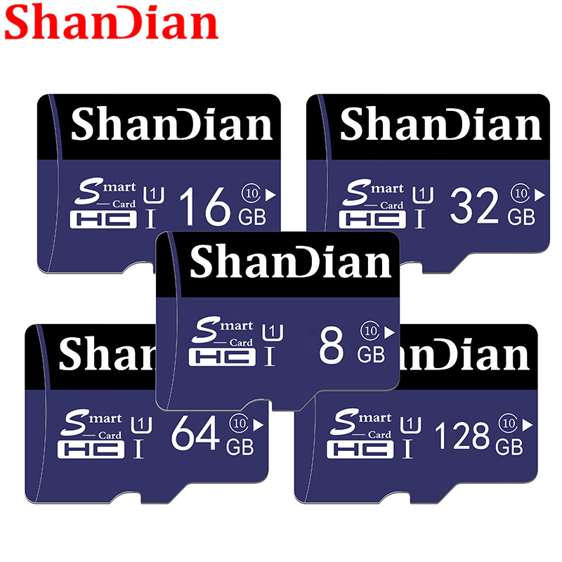 SHANDIAN Memory Card 128GB 64GB 32GB Micro Sd Card 16GB 8GB Class10 Flash Card Microsd
