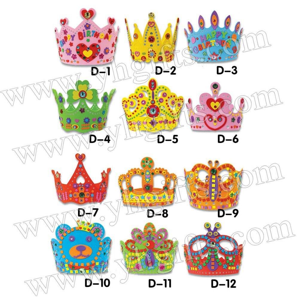 12pcs Lot Diy Unfinished Birthday Crown Craft Kits Kindergarten