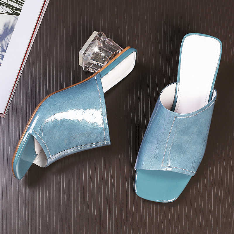 Wetkiss transparente sapatos de salto alto chinelos couro de vaca 2019 novo verão slides sapatos dedo do pé aberto sapatos de casamento feminino mules sapatos senhora