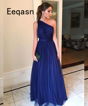 Robe De Soiree 2020 A-line One Shoulder Backless Dark Blue Tulle Long Prom Dresses Prom Gown Formal Evening Dresses