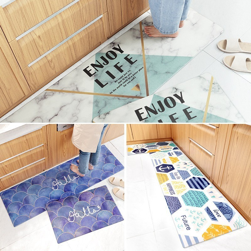 Nordic Long Kitchen Mat Pvc Rubber Doormat Entrance Waterproof Wear Resistant Kitchen Mats For Floor Non Slip Kitchen Rug Carpet Leather Bag
