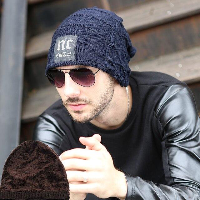 ad139ad4c5670 Moda 2015 Novos Homens de Inverno e Chapéu Mulher Carta NC Skullies Gorros  de Malha Chapéu