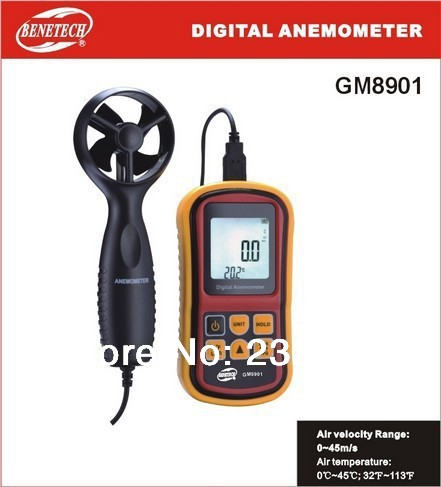 ФОТО Digital Air Flow Anemometer GM8901 Hotsale anemometer wind speed meter Air Velocity is 0-45 m/s non contact tachometer