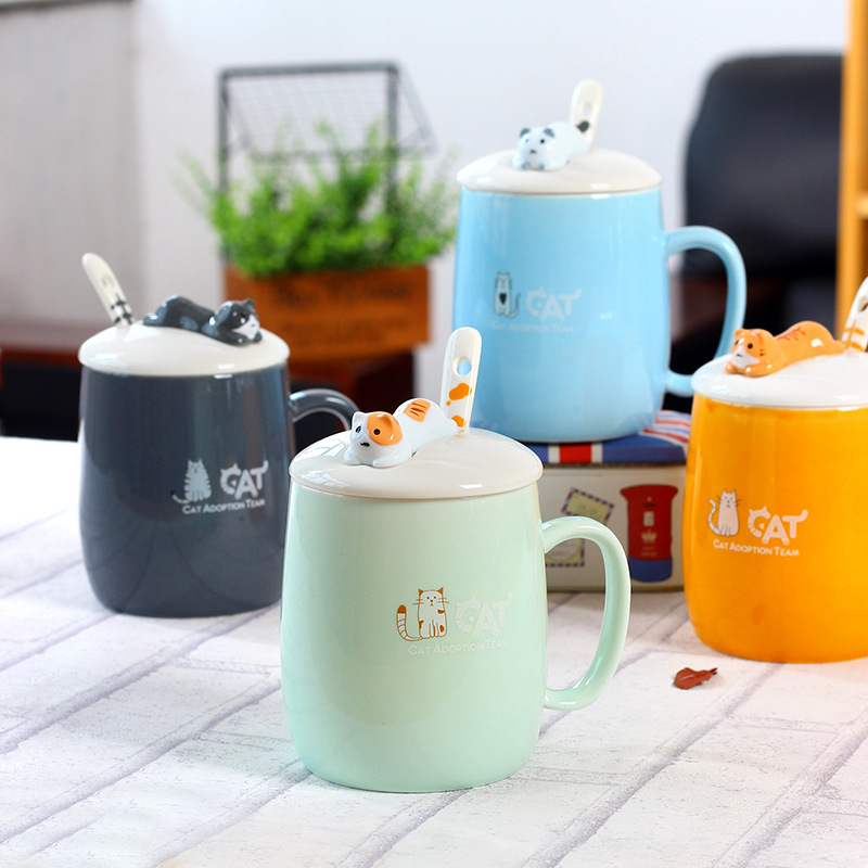 Cartoon cat creative ceramic cup with lid with spoon coffee milk mug cup breakfast cup outdoor student office cup travel thumbnail