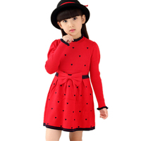 Girls Knitted Dress Autumn Winter Dresses 5 14Y Girls Baby Kid Sweater Christmas Dresses Long Sleeves