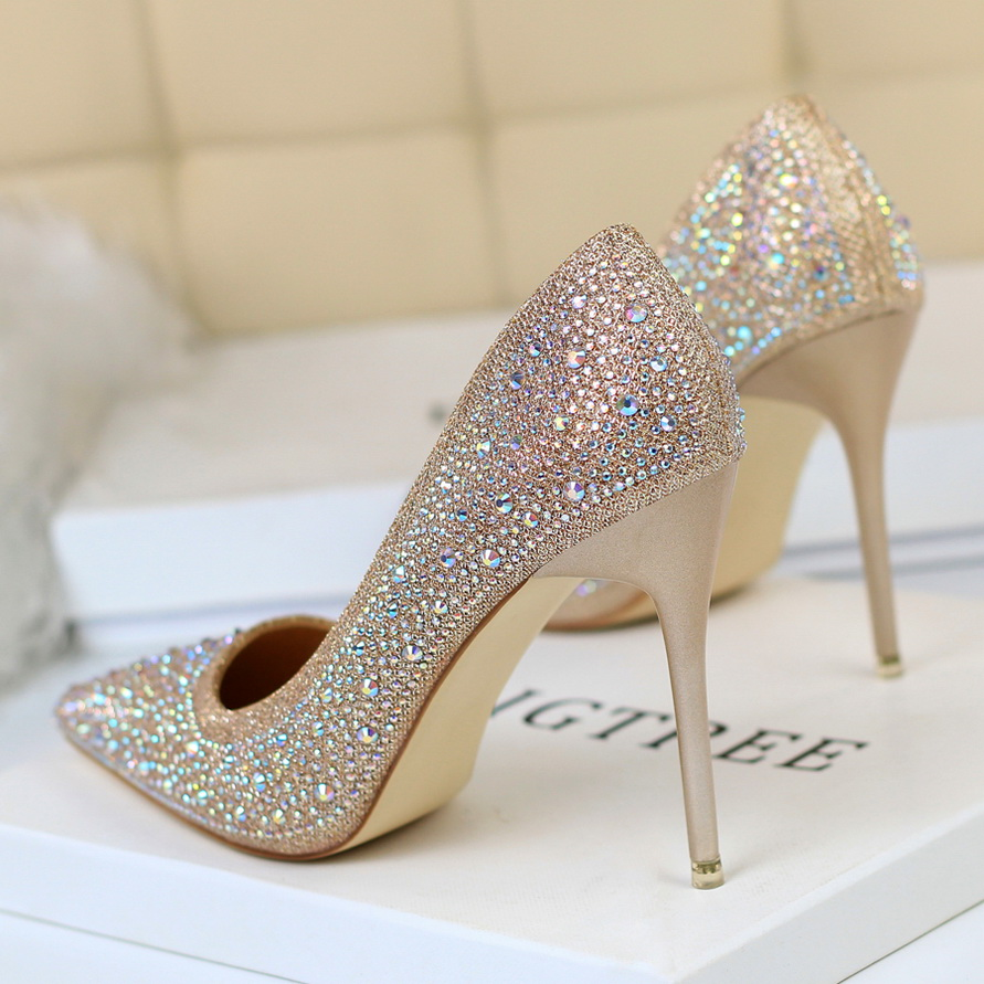 Crystal Wedding Shoes Bride High Heels Pumps Women Pointed Toe