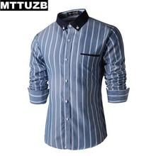 MTTUZB Casual Men's Shirt Spring Long Sleeve Male Dress Shirt Slim Fit Formal Business Man Fashion Strip Shirts M-XXL 3 Colors