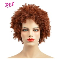 Deyngs Short Afro Kinky Curly Synthetic Women Wigs With Bangs Natural Red Color Wig Pixie Cut