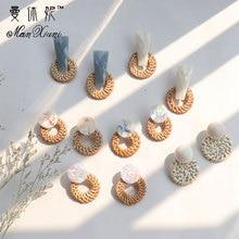 Fashion Bohemian Style Round Straw Woven Dangle Earrings For Women Geometric Exa