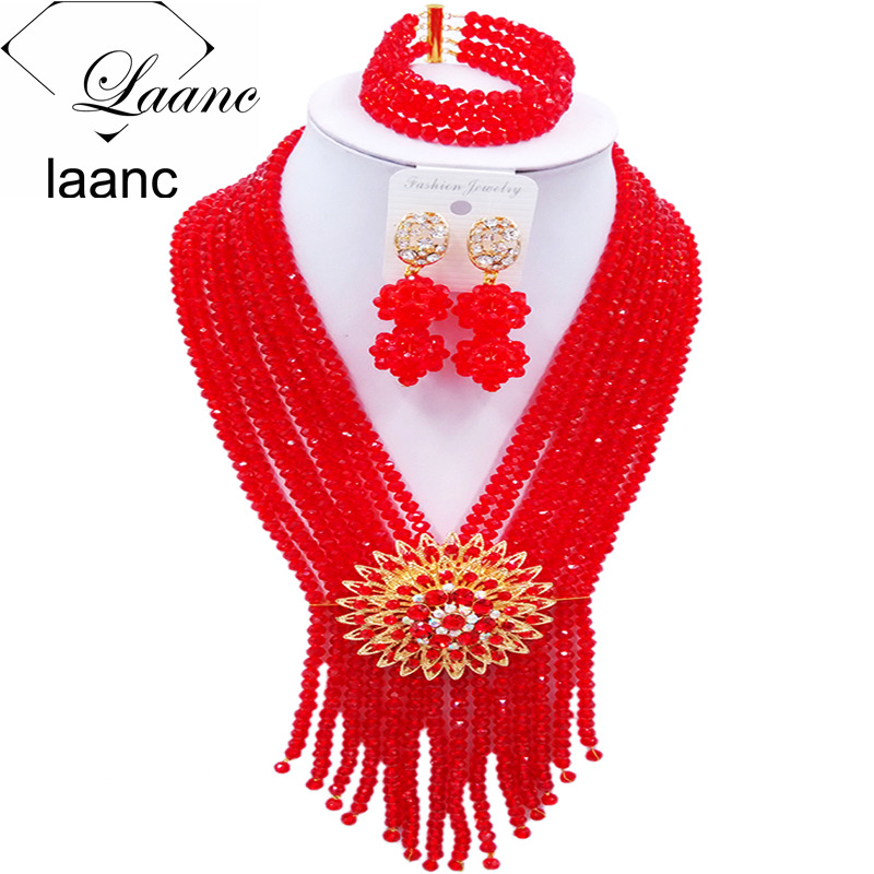 Laanc Fashion Crystal Red Beads African Jewelry Set  2017 Nigerian Wedding Party Jewelry Sets S8RSK021Laanc Fashion Crystal Red Beads African Jewelry Set  2017 Nigerian Wedding Party Jewelry Sets S8RSK021