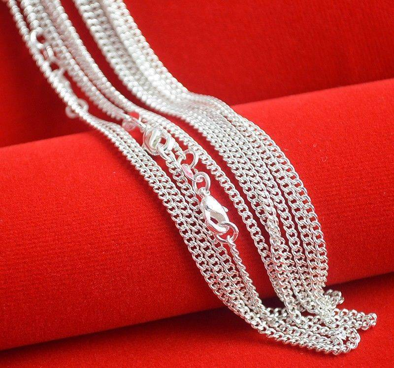 Hot Sale! 10pcs/lot Fashion Silver Necklace Chain,2mm 925 Jewelry Silver Plated Curb Chain Necklace 16-30,pick length!