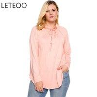 LETEOO Plus Size Bow Tie Pleated Collar Tshirt Long Sleeve Autumn Tops Casual Asymmetrical Hem T