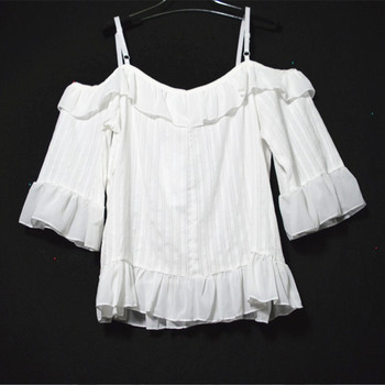 Off shoulder crop tops ladies Korean fashion 90s women white ruffle blouse short sleeve off shoulder spaghetti strap tops