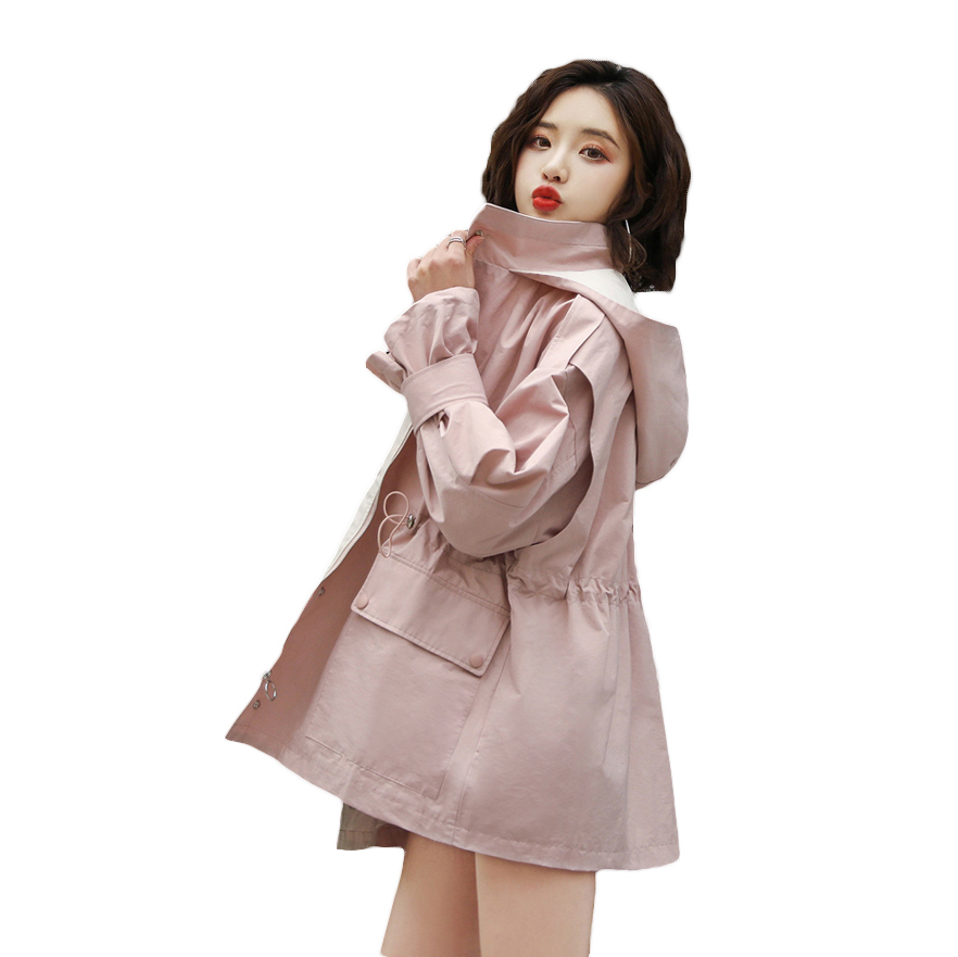 2019 Spring New short Hooded Windbreaker Female Korean Waist Autumn   Trench   Coat For Women Outerwear Tops N814