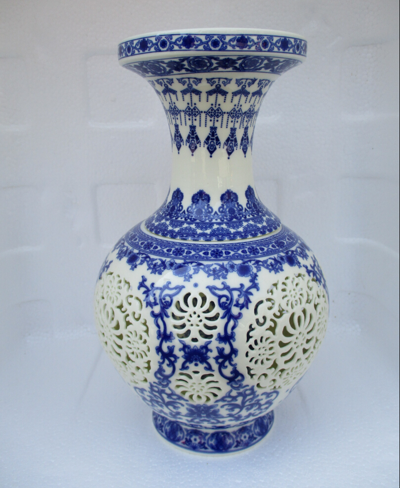 H11 inch home decoration chinese antique openwork porcelain vase h11 inch home decoration chinese antique openwork porcelain vaseclassic white and blue ceramic vases double layer vase in vases from home garden on reviewsmspy