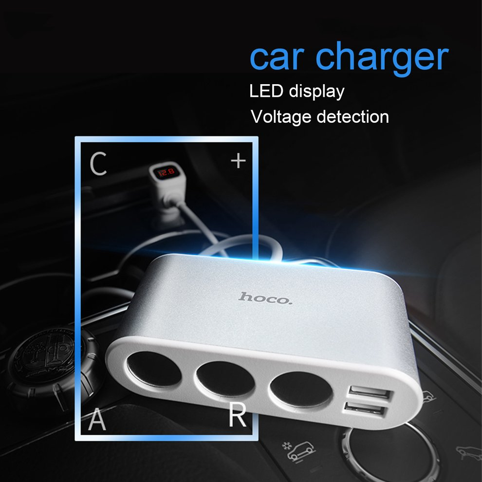 2000mah 100W HOCO Z13 3 in 1 Car Dual USB Charger Fast Charging LED Digital Display Battery Voltage Tester Real Time Monitoring