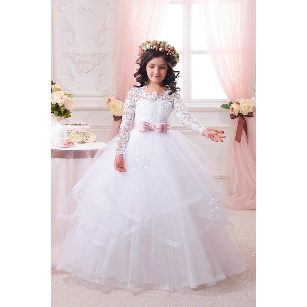 Princess Ball Gown White Lace   Flower     Girls     Dresses   2016 For Weddings Cheap Tulle With Belt Bow Knot Custom First Communion   Dress