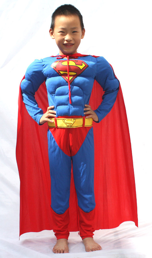 Free shipping , high quality children muscle superman costume clothes,halloween cosplay party muscle super hero costume ,cape
