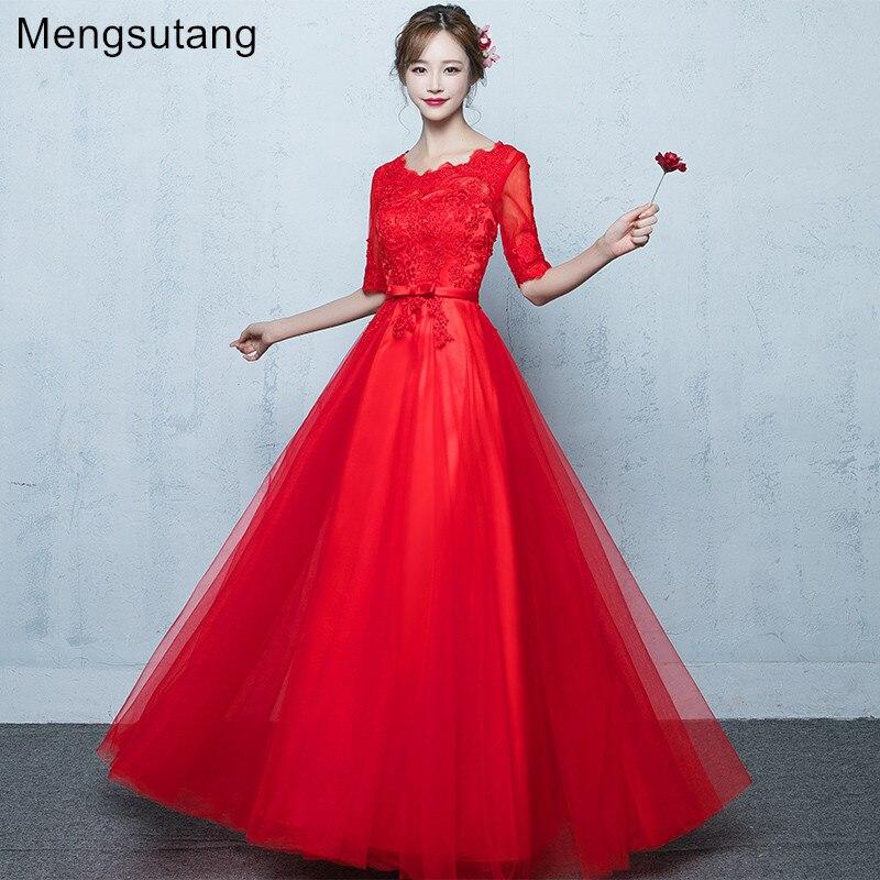 Robe de soirée 2019 Robe de soirée à lacets rouges avec appliques vestido de festa robes de bal robes de soirée sur mesure