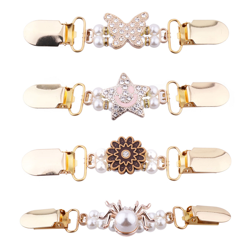 Women Fashion Flower Pattern Pearl Beads Sweater Shawl Clips Cardigan Collar Gold Duck-mouth Clip Holder Brooches